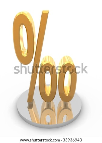 Golden per mil symbol. High Resolution 3D render isolated on white.