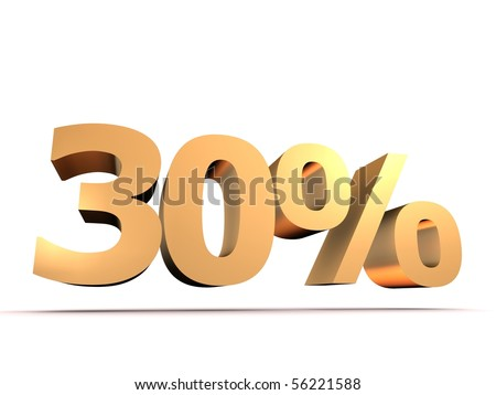 golden 30 percent - stock photo