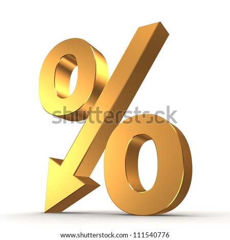 Golden percentage symbol with an arrow down - stock photo