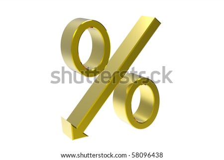 Golden percentage symbol with an arrow down isolated on white 3d render - stock photo