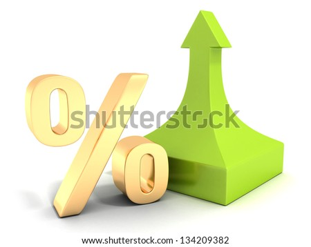 Golden percentage symbol with green arrow up - stock photo