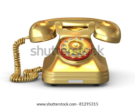 Golden phone on white isolated background. 3d - stock photo