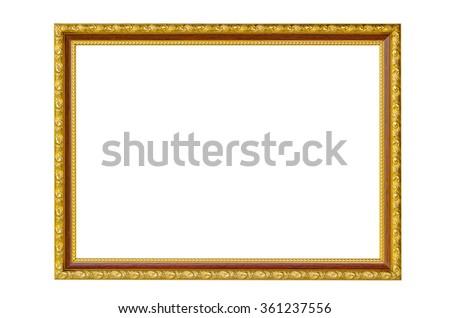 Golden photo Frame isolated on white background. - stock photo