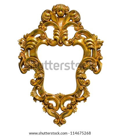 golden photo image frame isolated on white background