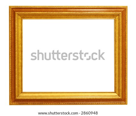 Golden Picture Frame - Isolated on White