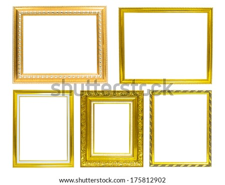 Golden picture frame isolated on white background.