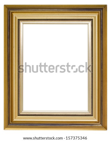 Golden picture frame isolated over white (clipping path included)