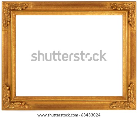 golden picture frame with a decorative pattern - stock photo