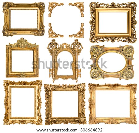 Golden picture frames isolated on white background. Baroque style antique objects - stock photo