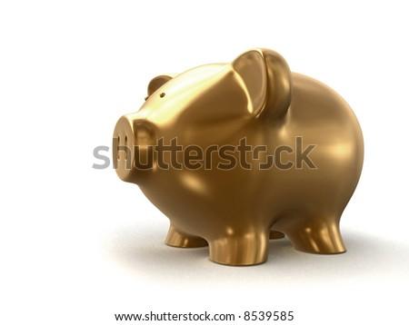 golden piggy bank - stock photo