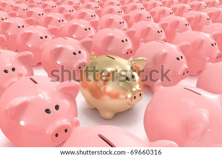 Golden piggy bank standing out from the others - stock photo