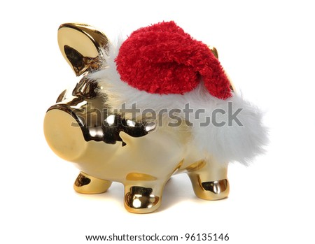 golden piggybank with jelly bag cap - stock photo
