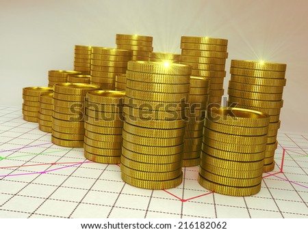 golden piles of coin on financial graph - 3D render - stock photo