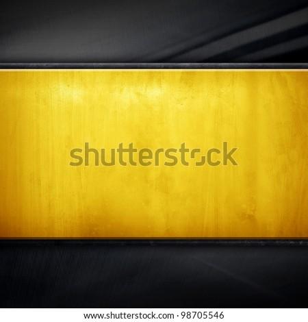 golden plate - stock photo