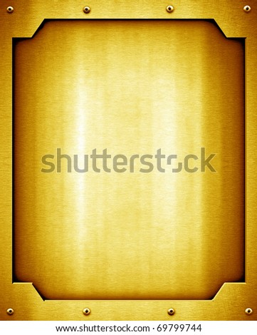 golden plate background - stock photo