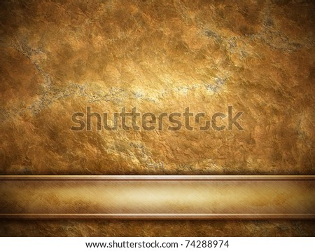 golden plate on grunge background - stock photo