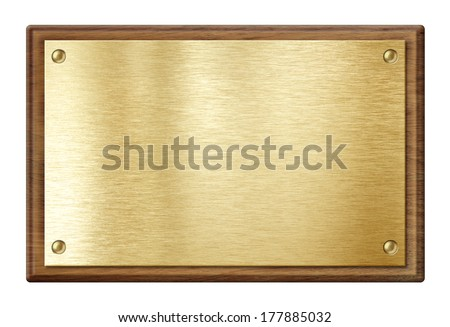 golden plate or  nameboard in wooden frame isolated on white - stock photo
