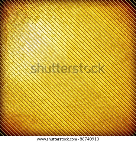 golden plate with stripe - stock photo