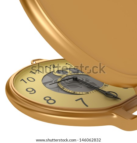 Golden pocket watch isolated on white background - stock photo