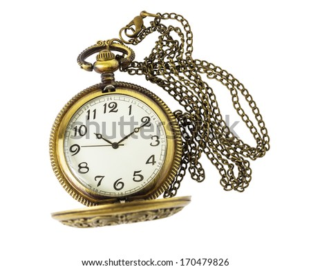 Golden pocket watch isolated on white background