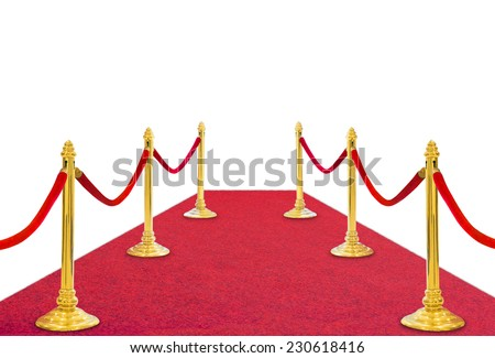 golden pole barricade with red carpet on white background