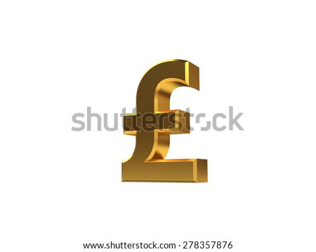 Golden pound sign no background - stock photo