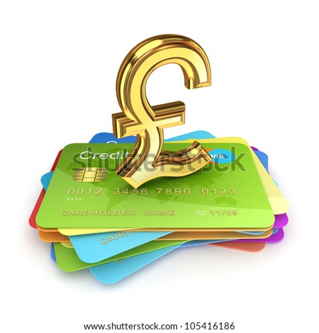 Golden pound sterling sign on a colorful credit cards.Isolated on white background.3d rendered. - stock photo