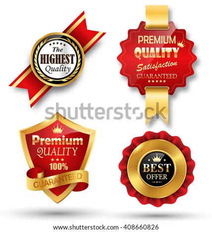 Golden Premium Quality Red Best Labels Collection Space for Text Isolated on White Background - stock photo