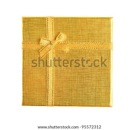 golden present box. Top view - stock photo