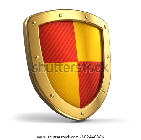 Golden protection shield isolated on white background - stock photo