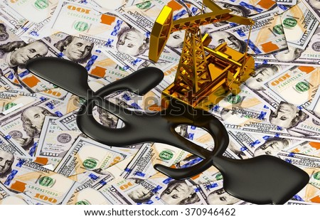 Golden Pumpjack And Spilled Oil On The Money.  - stock photo