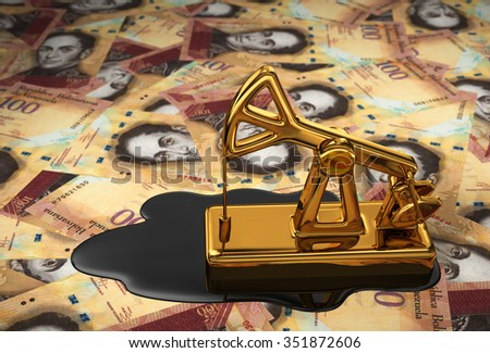 Golden Pumpjack And Spilled Oil On Venezuelan Money. 3D Scene. - stock photo