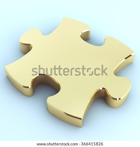 Golden puzzle on a light background. 3d render