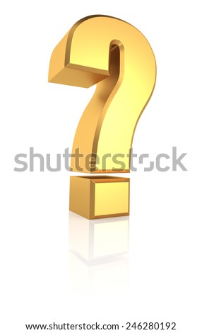 Golden question symbol isolated on white background. 3d render - stock photo