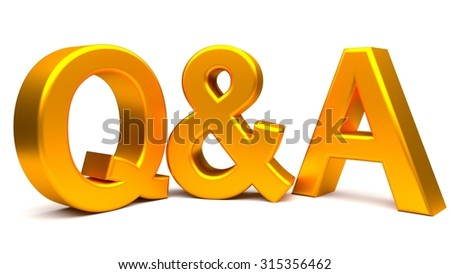 Golden questions and answers 3D concept text isolated on white background.  Rendered illustration. - stock photo