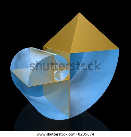 golden ratio (high resolution 3D illustration) - stock photo