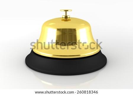 Golden Reception Bell 3D Render Illustration. Hotel Reception Bell. - stock photo