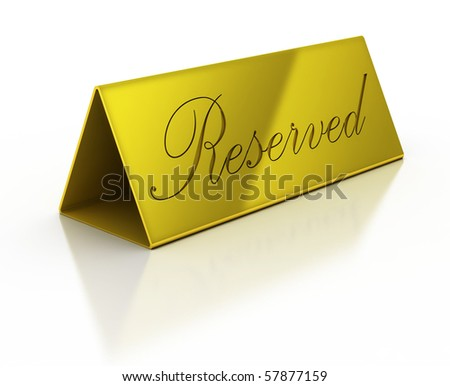 golden reservation sign on the white background - stock photo