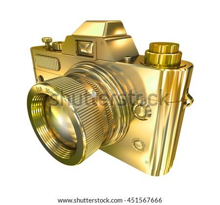 Golden retro photo camera on a white background. 3d illustration - stock photo
