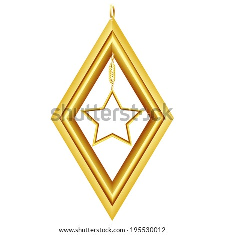 golden rhombus with star isolated on white background raster