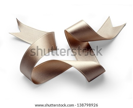 golden ribbon - stock photo
