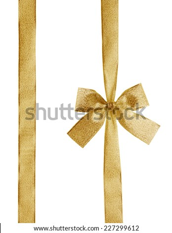 golden ribbon and bow with clipping path - stock photo