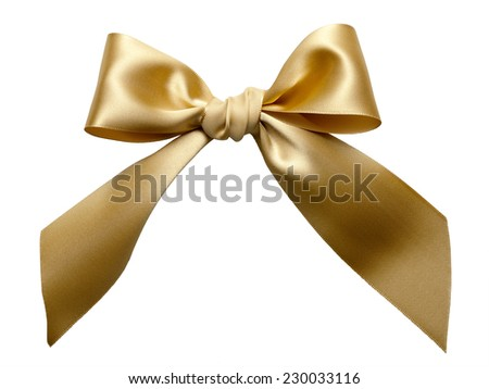 Golden Ribbon Bow isolated on White Background - stock photo
