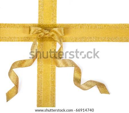 Golden ribbon bow on white - stock photo