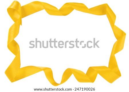 golden  ribbon copy space frame border - stock photo