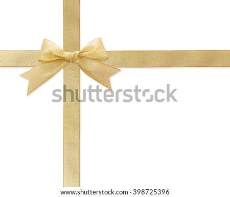 golden ribbon isolated on white - stock photo