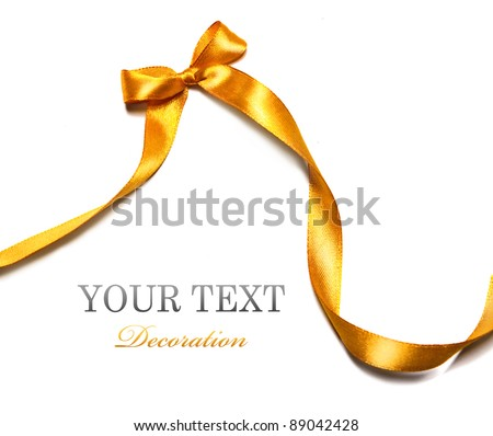 golden ribbon with bow on white background - stock photo