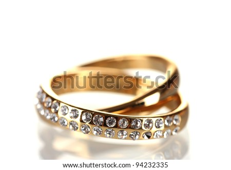 Golden ring isolated on white - stock photo