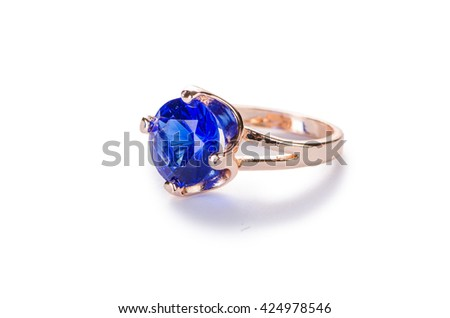 Golden ring isolated on white background - stock photo