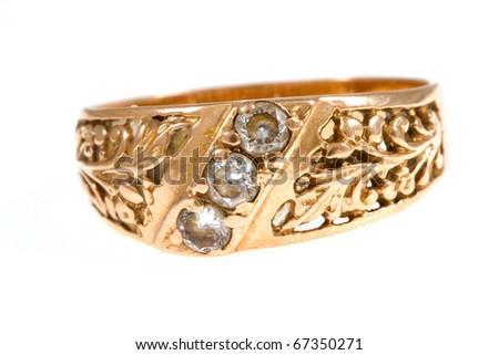 Golden ring on isolated - stock photo